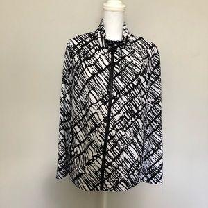 Zenergy by Chico's Jacket Full Zip Black White